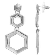 Coco Lane Hexagon Drop Earrings (13 CAD) ❤ liked on Polyvore featuring jewelry, earrings, grey, gray earrings, earring jewelry, hexagon jewelry, hexagon earrings and drop earrings