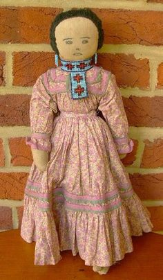 Antique Folk Art Native American Doll, c Early 1900's
