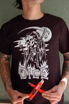 www.brokencherry.com #motorcycles #bikebuilders #custommotorcycles  Dan Collins Grim Reaper T-Shirt   $20.00