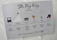 Itinerary- great to give to wedding party and in the hotel drops