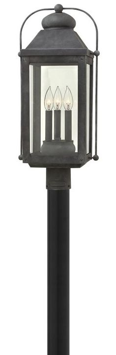 Hinkley Lighting 1851 3 Light Post Light From The Anchorage Collection Aged  Zinc Outdoor Lighting Post