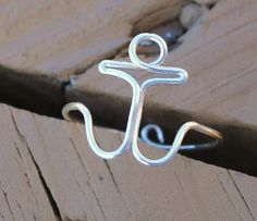 Wire Wrapped Adjustable Anchor Ring by KissMeKrafty on Etsy. $9.00, via Etsy.