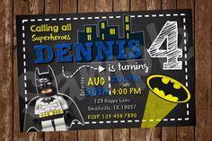 Batman Lego Birthday Invitation BM09 by Denleys on Etsy