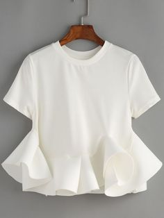 Online shopping for White Crew Neck Ruffle Crop Blouse from a great selection of women's fashion clothing & more at MakeMeChic. White Short Sleeve Blouse, White Ruffle Blouse, Crop Blouse, Collar Blouse, Ruffle Shirt, Ruffle Collar, Ruffle Top, Long Sleeve, Love Fashion