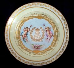 Antique ~ Sevres Plate ~  Putti design ~ Heavily gilded  King Louis Philippe ~ Dated 1846