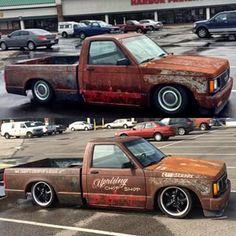 Roughly 1-1.5 years apart.  #bagged #gmcsonoma #chevy #s10 #minitruck #patina S10 Truck, Chevy Trucks, Pickup Trucks, Mini Trucks, Cool Trucks, Cool Cars, S10 Pickup, Chevy S10, Custom Baggers