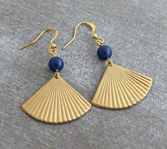 Gold Triangle Earrings .. gold fan earrings navy by beadishdelight