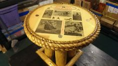 """20"""" round pirate theme with parchment end table with clear gloss epoxy finish"""