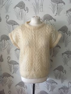 Vintage 1980s Mohair tank top, soft fluffy jumper, cream oversized pullover, retro cap sleeves 80s sweater by TheVintageFlea29 on Etsy