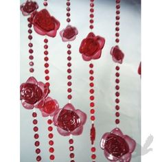 Rose Theme Beaded Curtain Panels - Red & Burgundy Roses