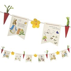 This pretty garland with beautiful Beatrix Potter illustrations featuring Peter Rabbit and his friends.  The pack comes complete with 3D flowers and 3D radishes and 3 types of string.  Each of the pennants has a separate design with characters from the timeless Peter Rabbit stories.