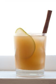 warm cold-weather drink with pear nectar, cinnamon, vanilla, honey, lemon, and tequila