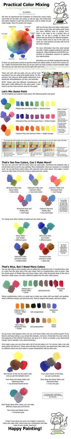 Practical Traditional Paint Color Mixing Tutorial I made this with my watercolors, but it can be used as a guide for acrylic paints and oil paints. I had a very hard time with watercolors for a ver. Watercolor Tips, Watercolour Tutorials, Watercolor Techniques, Art Techniques, Watercolor Paintings, Watercolors, Watercolor Mixing, Bd Art, Tech Art