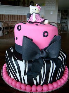 Cute Zebra Cake - can put barbie cake topper on this one :)