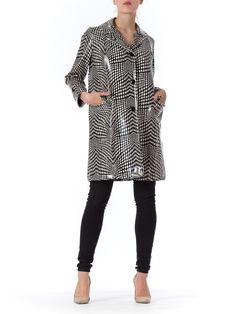 1960s MOD Black&White Geometric Optical Print Vinyl Raincoat Jacket