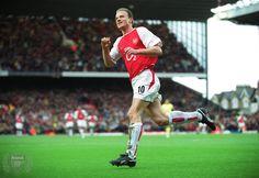Dennis Bergkamp celebrates scoring the 2nd Arsenal goal. Arsenal v Bolton Wanderers. FA Premiership, Arsenal Stadium, Highbury, London, 20/3/04. Credit : Arsenal Football Club / David Price.