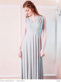 Fern features pleated detailing at the waist that creates a subtle array of geometric pleats and folds across the bodice. Customise the sleeves and length. Designer Bridesmaid Dresses, Designer Dresses, V Neck Midi Dress, Color Swatches, Custom Dresses, Fern, Sleeve Styles, Dresses With Sleeves, Sage