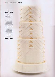 Wedding cake design inspired by the beautiful pleating of a Carolina Herrera wedding gown. Strips of fondant are painstakingly cut, folded then transferred onto the cake. White Wedding Cakes, Beautiful Wedding Cakes, Gorgeous Cakes, Pretty Cakes, Amazing Cakes, Fondant Cakes, Cupcake Cakes, Pleated Cakes, Geometric Cake