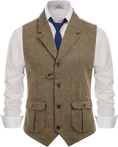 PJ PAUL JONES Men's Slim Fit Tailored Collar Waistcoat Wool Tweed Suit Vest Coffee, Small at Amazon Men's Clothing store