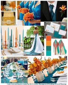DLG Creative Management Gallery - Teal and Orange Ideas, inspirations when using 2(or more) colors for your wedding or event - find us at mywedding.com