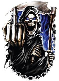 Peel-off - Reaper Middle Finger Car Sticker - Window - Auto Decal 12 inch Grim Reaper Art, Estilo Cholo, Arch Motorcycle, Skull Rose Tattoos, Overwatch Wallpapers, Beautiful Dark Art, Reaper Tattoo, Love Is Comic, Skull Art