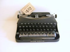 Antique Remington Rand Deluxe Remette Portable Typewriter with Case Mad Men Office Decor on Etsy