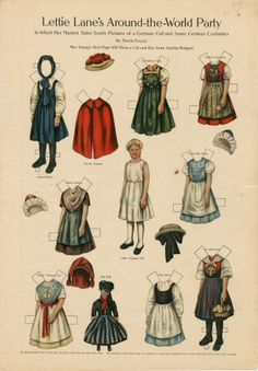 Lettie Lane's Around-the-World Party: German Girl  paper doll  1910  Artist:  Sheila Young