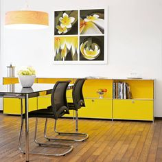 sideboard in the living or conference room. Bookshelves, Bookcase, Yellow Cabinets, Modular Furniture, Sideboard Furniture, Furniture Design, Workspace Design, Timeless Design, Home Office
