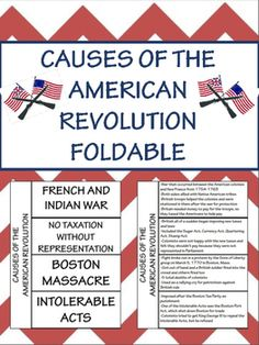 Free Causes of the American Revolution Foldable; Interactive Notebook
