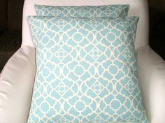 Pillow Covers As Featured in Good Housekeeping Magazine Outdoor Throw Pillow Cushions Aqua Cream Waverly BOTH SIDES - Pair of Two 18 x 18 Aqua Throw Pillows, Outdoor Throw Pillows, Accent Pillows, Outdoor Pillow Covers, Decorative Pillow Covers, Pillow Room, Good Housekeeping, My Living Room, Home Decor Inspiration