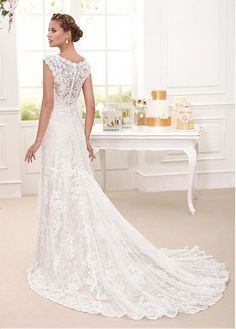 Buy discount Charming Tulle & Lace Scoop Neckline Mermaid Wedding Dresses With Lace Appliques at Dressilyme.com