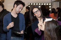 Bobbi Brown shows makeup artist, Marc Reagan, how to create the Rachel Roy Fall '13 look. #Bobbi4RR