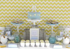 Blue,grey, yellow chevron baby shower by Mon Tresor & Couture Cupcakes and cookies