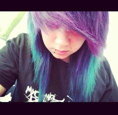 Cute! purple, green and blue hair