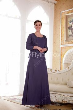 0d69d5cc697 Desirable Scoop Neckline A-line Ankle Length Purple Mother Of The Bride  Dresses With Long Sleeves Jacket