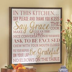 Sentiment Wall Art from Midnight Velvet.  Canvas word screen print offers the rules of the kitchen.