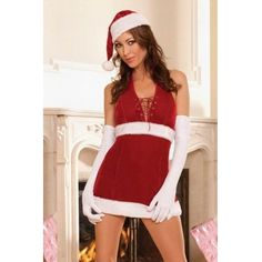 Sexy Red V Neck Christmas Costume For Sale Christmas Dress