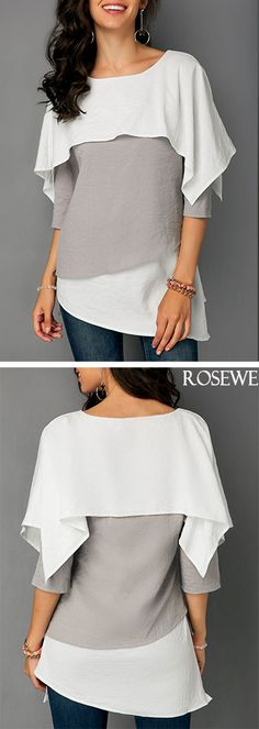 Overlay Round Neck Three Quarter Sleeve Blouse.#rosewe#blouse#top