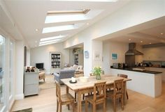 L shaped kitchen diner family room Extension Veranda, House Extension Plans, Extension Ideas, Open Plan Kitchen Dining Living, Open Plan Kitchen Diner, Open Kitchen, Kitchen Family Rooms, Living Room Kitchen, Space Kitchen