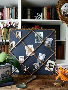 I love this DIY Rope Memo Board by Emily A. Clark....I'd cover the board with Chic Shelf Paper instead of paint...                                                                                                                                                                                 More