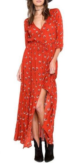 AMUSE SOCIETY Kimia Print Maxi Dress