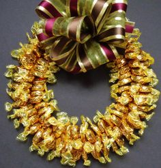 Hard Caramel Candy Wreath Unique Gift by CandyWreathsbyCarla