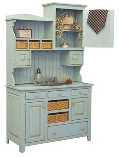 Oh my goodness!  I would wet myself to have this piece!   Amish Primitive Kitchen Hutch Farm House Pantry Cupboard Wood Country Furniture