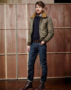 J.Crew men's Wallace & Barnes flight jacket and Japanese denim 770 pants in vintage dark indigo wash.