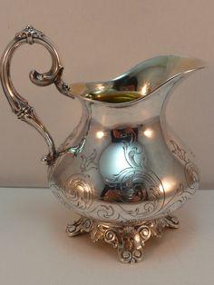 Antique Silver Creamer 13 Loth 812 German Austrian Syrup Cream Pitcher 1850 #Unknown
