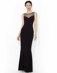Women's Apparel | Formal/Evening | Mesh V-Neck Floor-Length Gown | Lord and Taylor