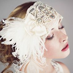 Ivory Lace Flapper Feather Headband by BaroqueAndRoll on Etsy