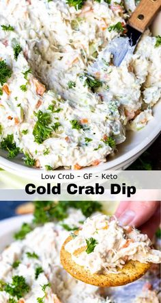 keto friendly salads This Cold Crab Dip Recipe is great for a game day appetizer, holiday feasts or any type of party. Made with simple real food ingredients, this dip is good serv Cold Appetizers, Appetizers For Party, Appetizer Recipes, Salad Recipes, Crab Appetizer, Holiday Party Dips, Holiday Dip, Simple Appetizers, Italian Appetizers