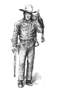John Wayne pencil drawing, full length figure portrait.