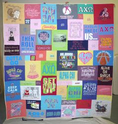 Alpha Chi T-shirt quilt. Sorority T-shirt quilts are always colorful and this one is a great example.